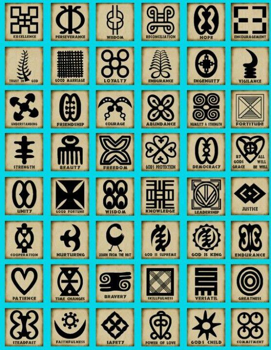 De Adinkra symbolen. Hier tref je de betekenis van deze symbolen aan.   http://www.african-essentials.com/instrumenten/cultuur/cultuur-adinkra-index.htm  www.vivier.nl