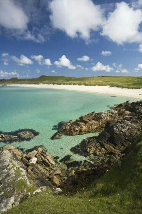 Shetland islands. Not very warm water, despite its appearance.