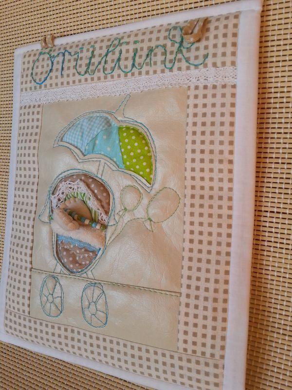 vintage textilkép babaköszöntő