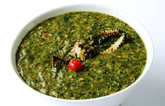 Callaloo is a thick soup of Trinidad Cuisine