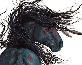 Majestueuze zwarte hengst Indiaanse geest paard kunst-Giclee Print door Bihrle mm135