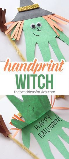 This easy handprint witch card is the perfect craft for Halloween! Kids will love creating this simple witch craft and would be great to give as a gift too! Non-candy treat ~ Halloween craft ~ witch handprint ~ halloween card ~ Halloween paper craft via