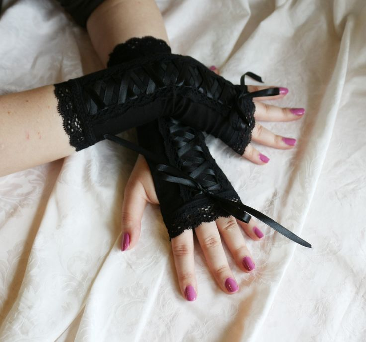 Black laced up gothic armwarmers fingerless gloves by AlicesLittleRabbit on Etsy