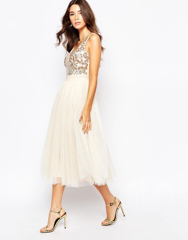 Image 4 ofLittle Mistress Sequin Midi Dress With Tulle Skirt