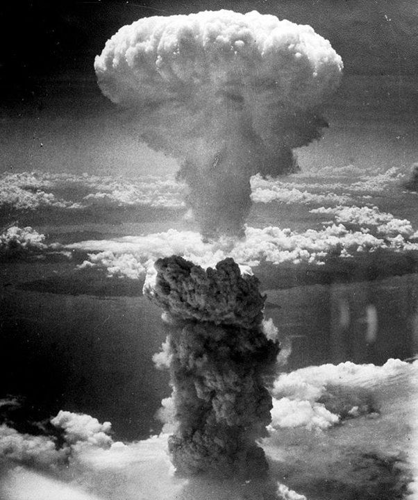 The mushroom cloud of the atomic bombing of the Japanese city of Nagasaki on August 9 1945 rose some 11 miles (18 km) above the bomb's hypocenter.