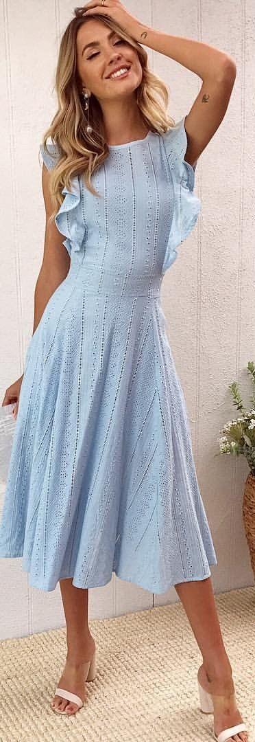 #winter #outfits blue dress