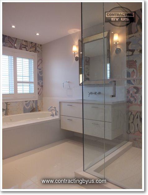 http://www.contractingbyus.com/portfolio/bathrooms/#728  #urban #graffiti #artlife #PerondaGroup #Bansky #tiles #streetart #home #master #bathroom #renovation #remodelling #house #renovationideas #renovationinspiration #OakvilleON #MississaugaON #BurlingtonON #MiltonON #TorontoON #generalcontractor #webuildyourdream #shower #framelessshower #design #trends #designtrends