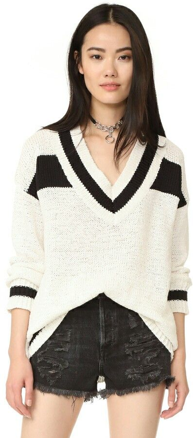 V Neck Chunky Knit Rugby Sweater ♡♡ #rugbysweater #sexyknits #kendallandkylie