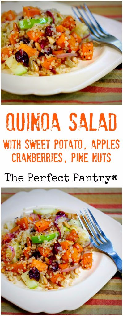 Quinoa salad with sweet potato, apples, cranberries and ...