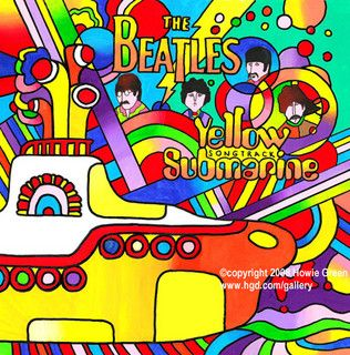 Beatles Yellow Submarine album cover painting by Howie Green, via Flickr
