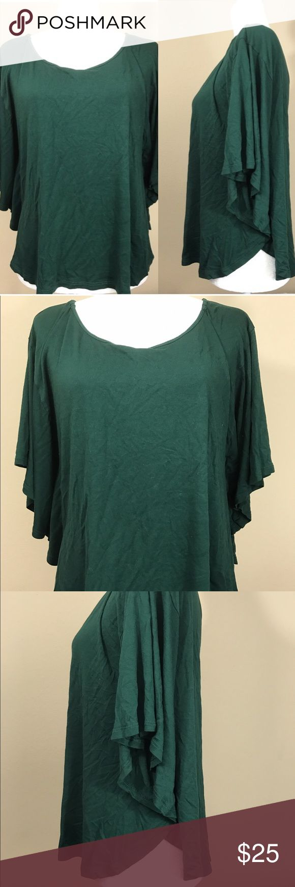 Mango forest green butterfly dolman top Great condition Mango Tops