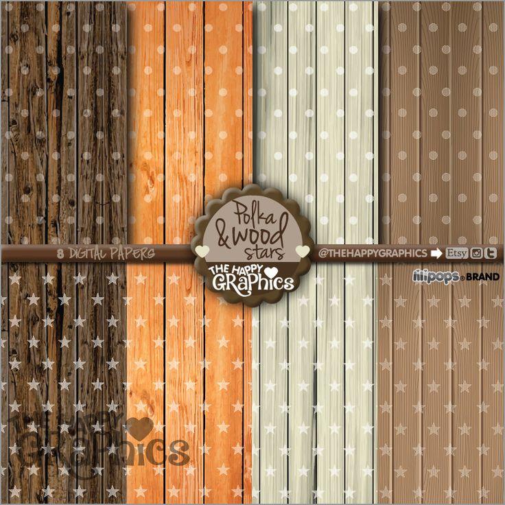 Polka Digital Paper, 80%OFF, COMMERCIAL USE, Polka Pattern, Printable Paper, Planner Accessories, Wood Paper, Wood Pattern, Star Paper