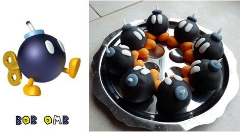 repas anniversaire enfant mario kart : pop cakes bob omb