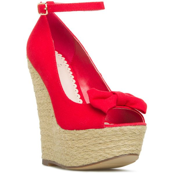 ShoeDazzle Wedge Haily Womens Red ❤ liked on Polyvore featuring shoes, red, wedges, bow wedges shoes, peep toe shoes, summer shoes, red shoes and summer wedge shoes