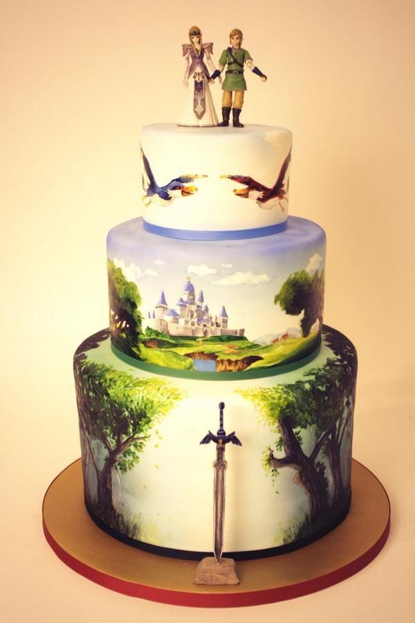 Hand painted legend of Zelda wedding cake