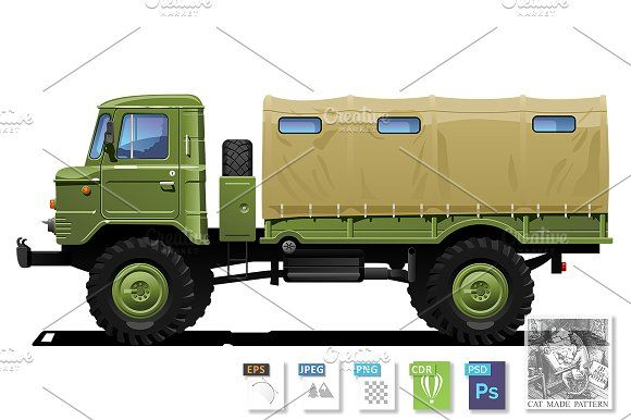 Military truck by CatMadePattern on @creativemarket