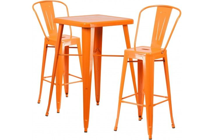23.75Inch Square Orange Indoor-Outdoor Bar Table Set with 2 Bar Stools from Renegade | Coleman Furniture