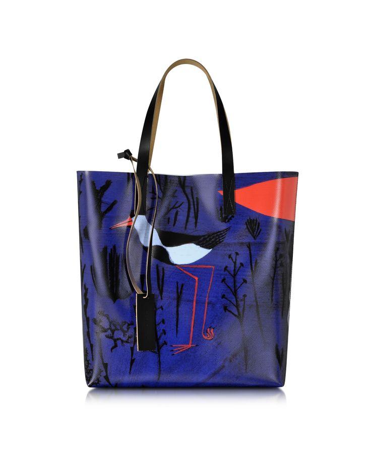 Marni Light Navy Roger Mello Print PVC Shopping Bag at FORZIERI