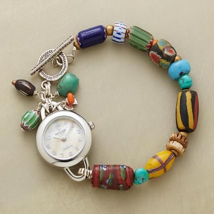 Designed by Peyote Bird Designs   Vintage African trade beads, turquoise, sterling silver and watch face   168$