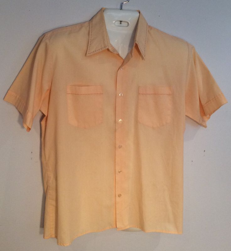 VanCort mens short sleeve shirt salmon stitching vintage 1970's  double pocket front theater costume gift by Vintageroyaleny on Etsy https://www.etsy.com/listing/506900808/vancort-mens-short-sleeve-shirt-salmon