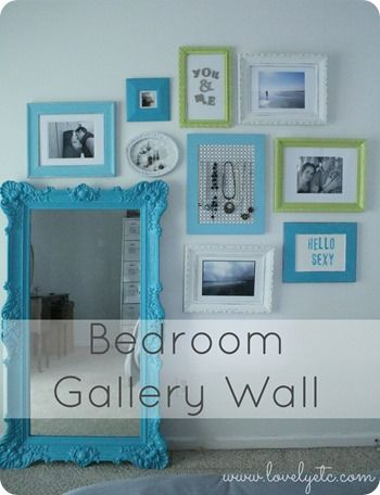 Bedroom Gallery Wall Colorful Meaningful And Perfect For The Bedroom With A Leaning Mirror