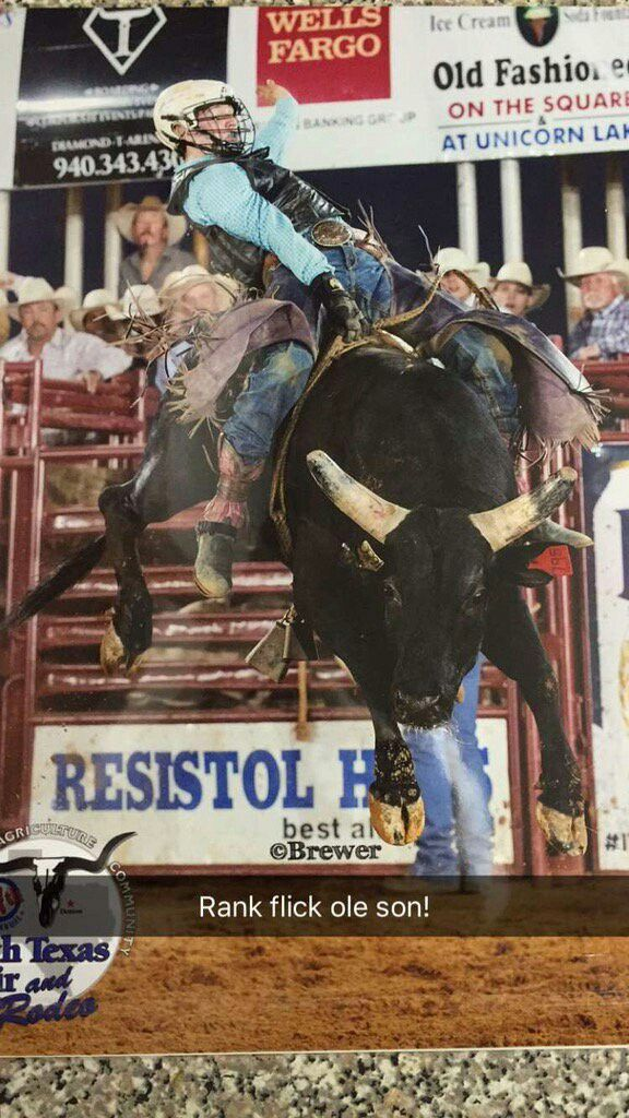 Awesome  Bucking Bull Riding  Photo from Pro Rodeo Rider Ty Scott out of Texas  He Rides Every weekend, all the time. Pro Rodeo & College Rodeo for Vernon College. His Up & Coming Events are:  Pretty Prairie, Kansas  Woodward, Oklahoma  Manhattan, Kansas Eagle, Colorado   Team Cowboy Coffee Chew