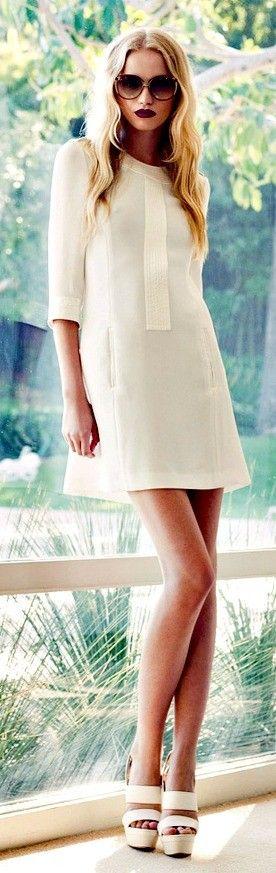 White. Day Dress. Short Dress. Knee Length. T-Lining. Spring Dress. Formal. Professional. Quarter Sleeve. Neck High.