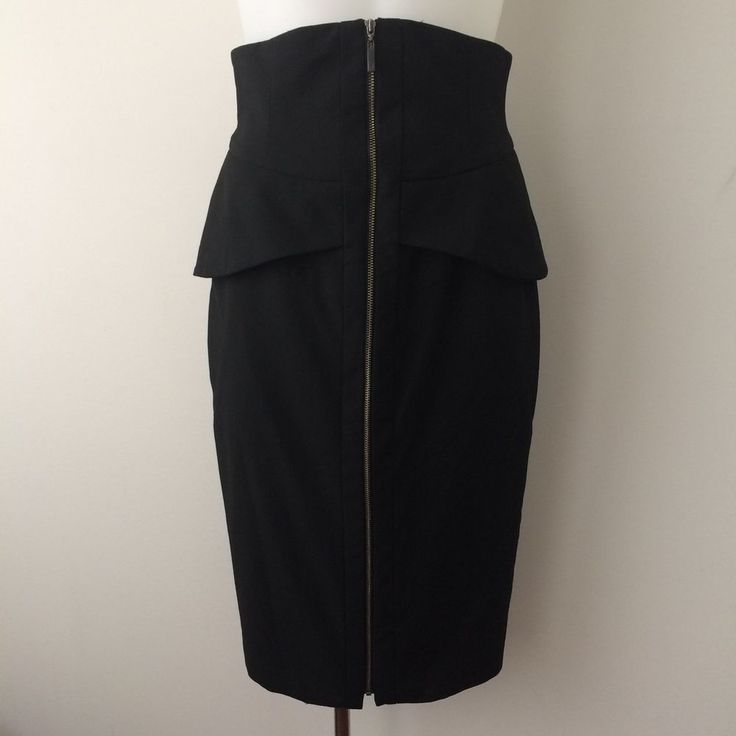 CUE Size 6 High Waisted Pencil Skirt Peplum Structured Exposed Zipper Black  | eBay