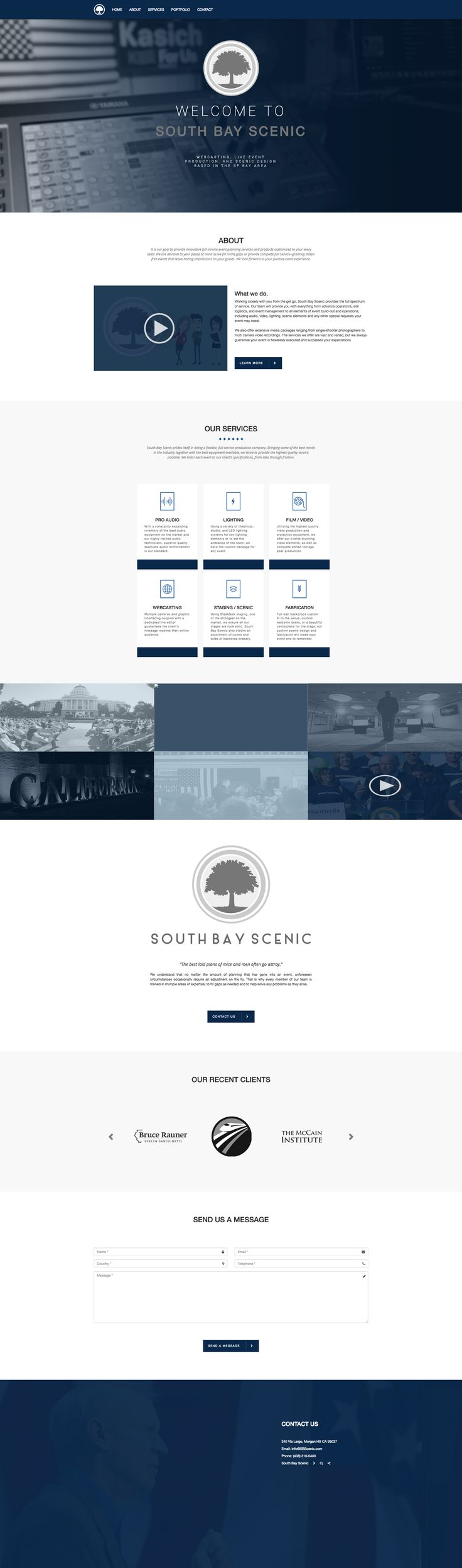 South bay scenic landing page. Design by Jumpanzee.