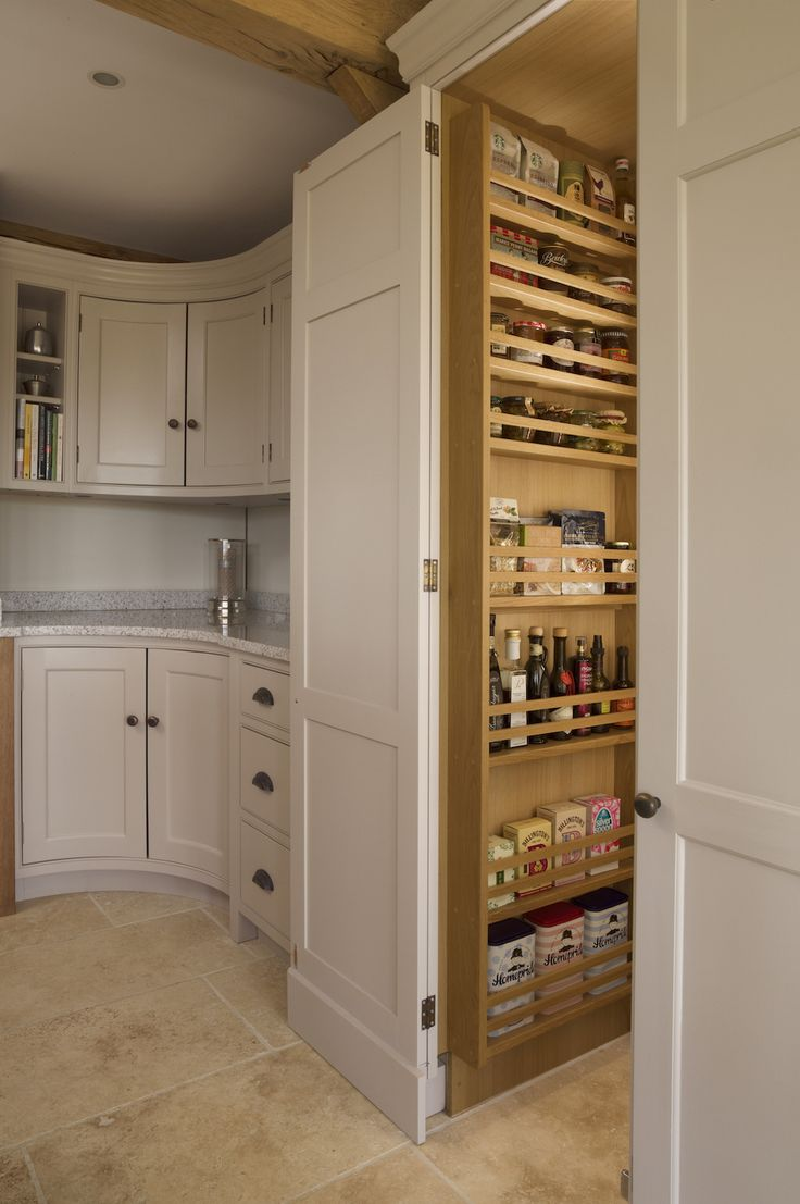 Hand-painted tall walk-in larder with spice racks.