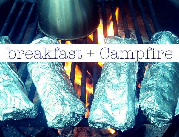 breakfast burritos wrapped in tin foil. Just throw them on the grill to heat. Great for canoe trip!                                                                                                                                                     More