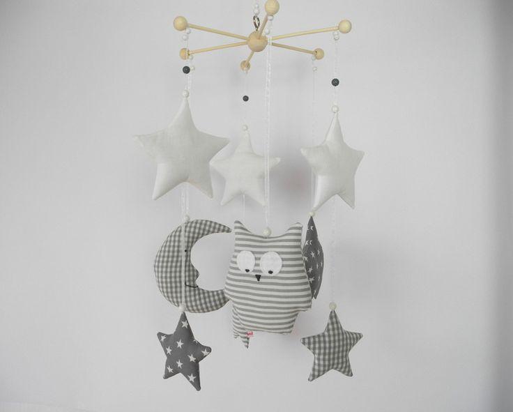 MOBILE Mond & Eule & Sterne grau/weiß von Neuling auf DaWanda.com