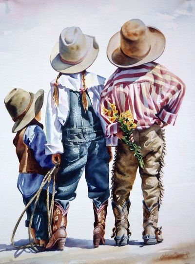 painting by Nelson Borden | following original watercolor paintings by Nelson Borden | Little Cowboys, Little Cowgirl