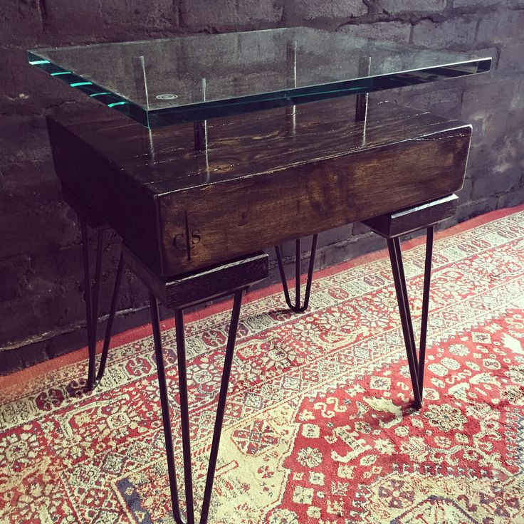 Black smoke french oak side table with glass top.