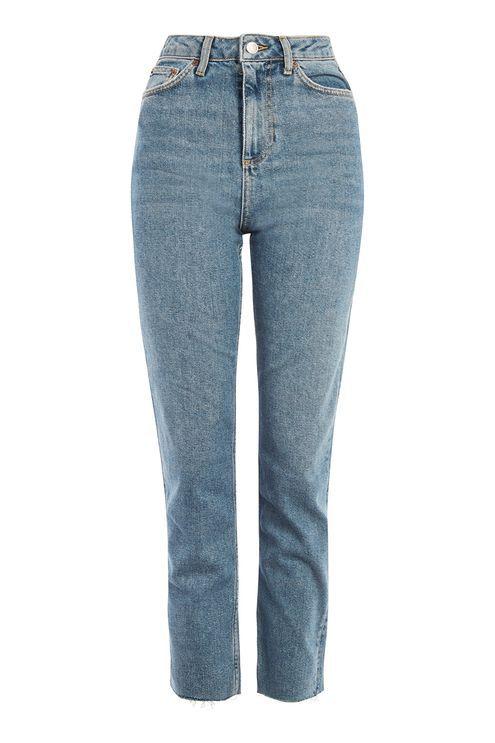 MOTO Mid Blue Straight Leg Raw Hem Jeans