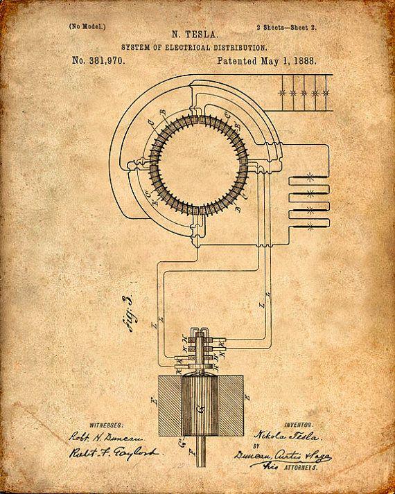 Patent Print  Tesla Transformer  Tesla Wall Art  by VisualDesign, $6.95