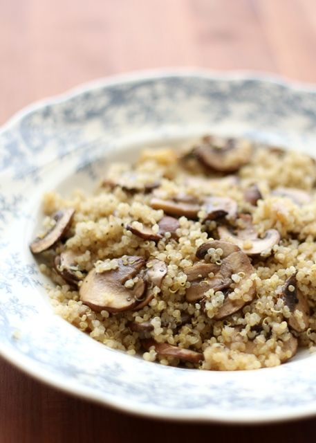 Barefeet In The Kitchen: Roasted Garlic Quinoa with Mushrooms