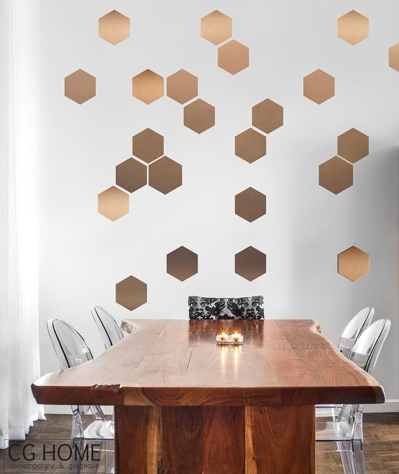 Honeycomb Self Adhesive Hexagon COPPER Wall Art GOLD Wall Decal Office  Dining Room Baby Room Washable Sticker Scandinavian Pattern Decor