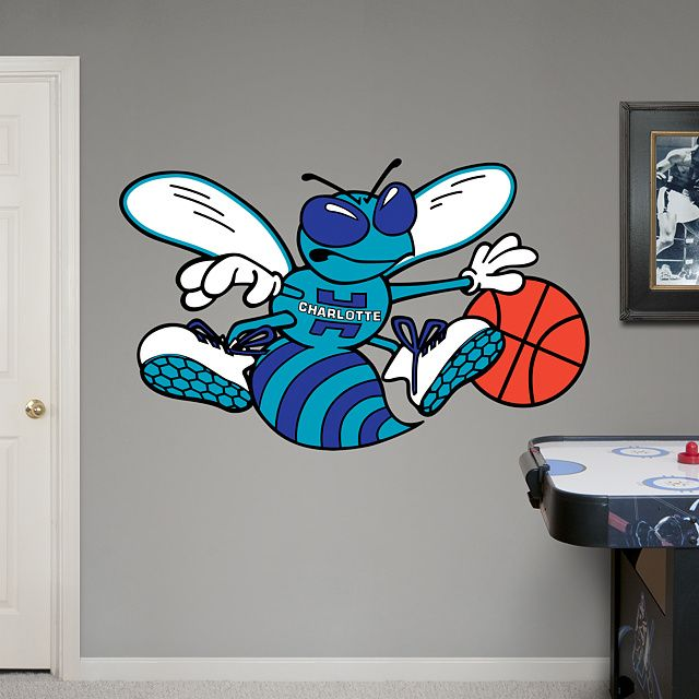 Charlotte Hornets Classic Logo REAL.BIG. Fathead – Peel & Stick Wall Graphic | Charlotte Hornets Wall Decal