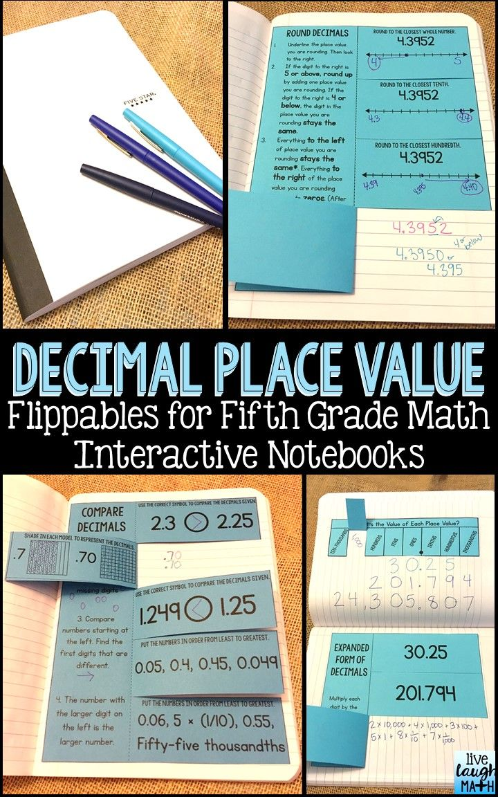 This math interactive notebook resource contains 11 decimal place value flippables and foldables with models & examples. These flippables can be used to teach and practice base-ten decimal place value, powers of ten, word form, expanded form (expanded notation), comparing decimals, and rounding decimals. Aligned to Common Core Math Standards 5.NBT.1-4