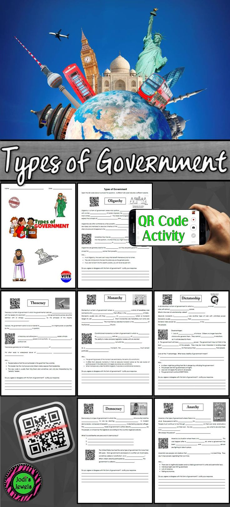 iPad activity using QR codes. Students will answer the questions about types of government including oligarchy, theocracy, dictatorship, monarchy, anarchy, and democracy. Worksheets can be assigned as a packet or individually.  Visit Jodi's Jewels today!