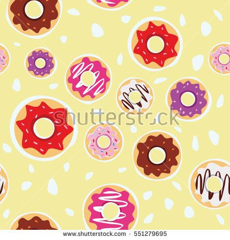 seamless donuts pattern with yellow background vector design