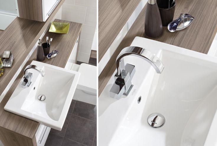 28mm banbury walnut laminate worktop from Utopia Bathrooms.