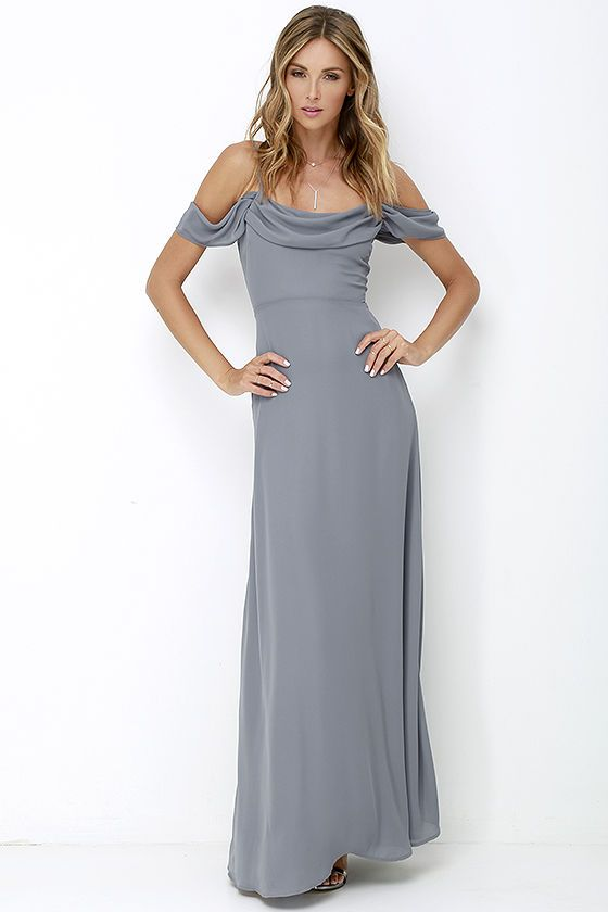 Reflective Radiance Dark Grey Maxi Dress at Lulus.com! - Possible bridesmaids dress?