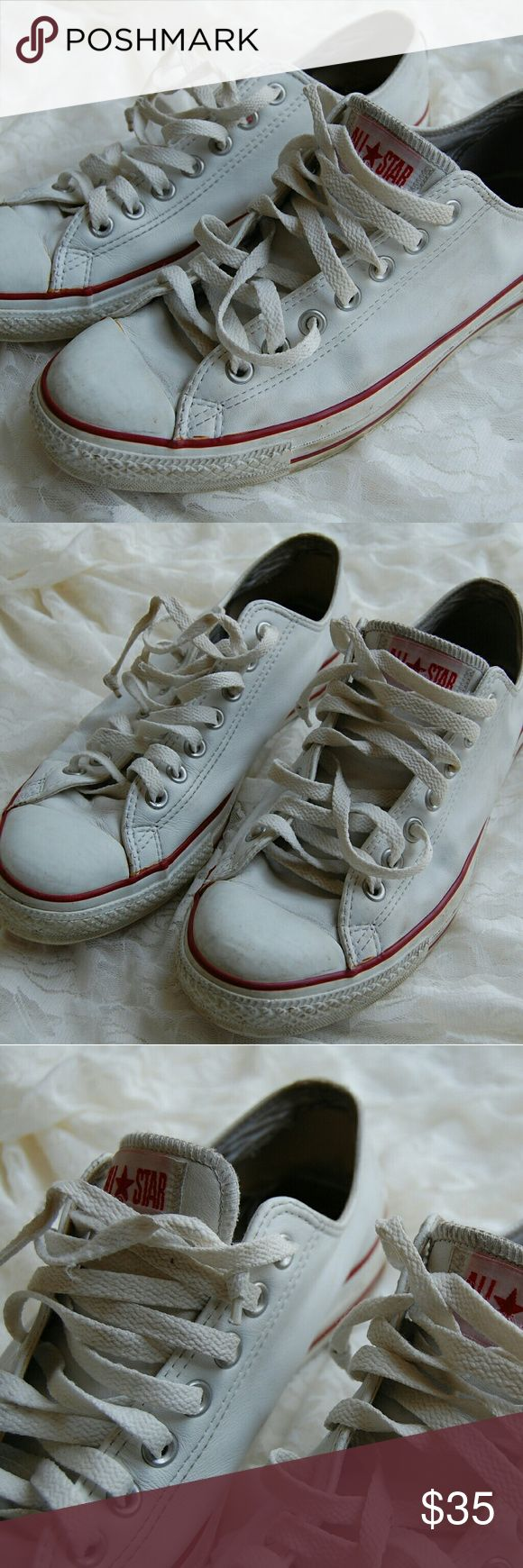 White Converses Men's 9 Men's Converses  Pre-owned But still tons of life left! Shoe Laces are out all the way out Converse Shoes Sneakers