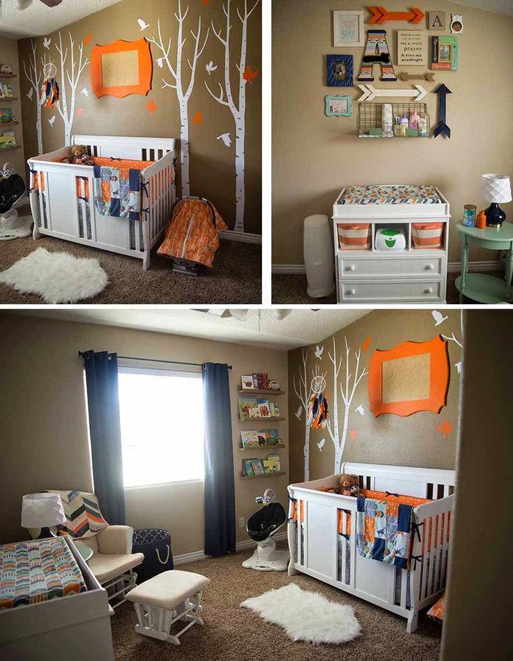 baby boy nursery, woodland nursery, nursery, boy nursery, orange & navy nursery, fox nursery, tribal nursery, nursery ideas