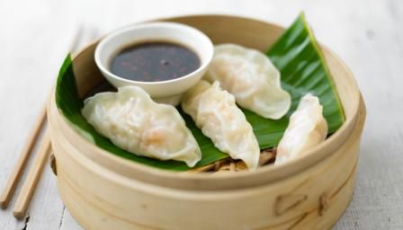 James Martin's dim sum of steamed prawn parcels are served with two types of spicy dip – a great starter for sharing.