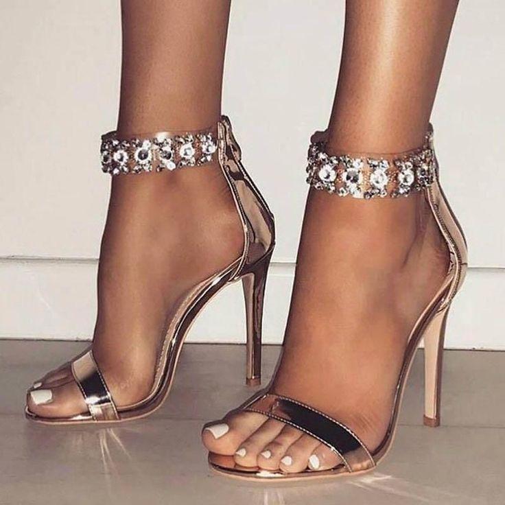 Brilliant Rhinestone Open Toe Zipper Stiletto Heel Sandals
