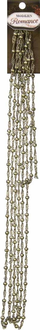 """38"""" Twisted Ball Chain- Antique Gold - 3.2mm LinksModering Romance brings the look of heirlooms together with rich accessories to create a feminine style with charm and grace.  Time worn finishes provide a soft background for detailed embellishments with lots of flowers, hearts, and lace.  Great expectations of romance abound in this delicate and decadent program. [$2.0000]"""