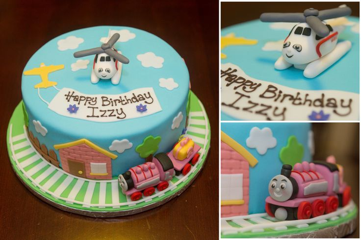 Thomas the Train cake (without Thomas).  Featuring Harold the Helicopter and Rosie.